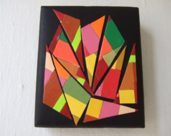 Pink and Yellow Triangles original wall hanging