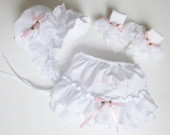Baby Girl Fancy Frilly Lace Bonnet, Frilly Panty, Frilly Socks, Baby Girl's Necessities...Every Baby Girl needs their frillys!