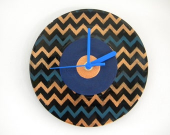 Hand Painted Vinyl Record Clock: Zigzag design (Bronze and Blue)