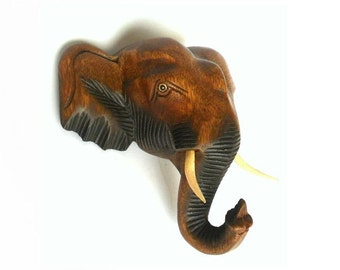"Wood Carving Elephant Head Wall Hanging Hand Carved Handmade Art Home Decor Gift 8"" x 8.5"""