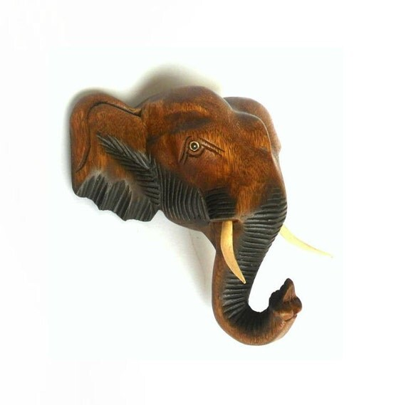 Wood carving elephant head wall hanging hand carved handmade