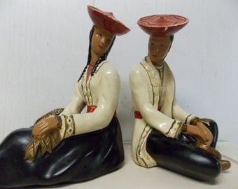 Mid Century Alexander Backer ABCO Sitting Couple Figurine Set Handpainted Made in USA