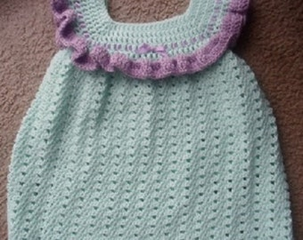 Crochet Soft Green & Purple w/Purple Ribbon Dress.  Can be done in 0-6 Mths, 6-12 Mths, 12-18 Mths, and 18-24 Mths.