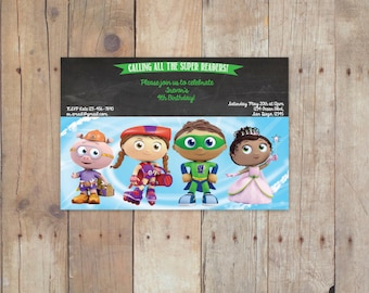 Super Why Birthday Invitation/  4x6 / printable