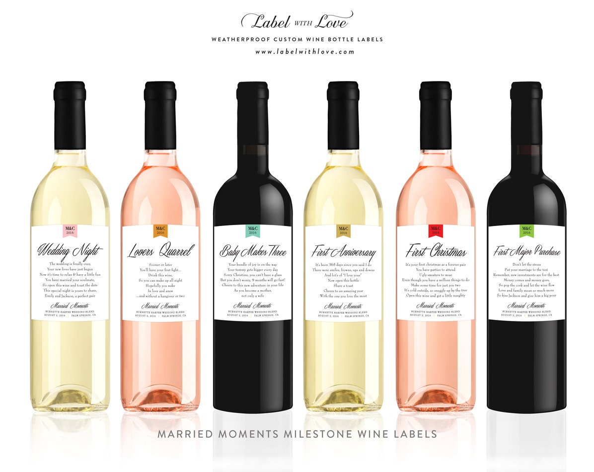 Custom Wine Bottle Labels for First Milestones by ...