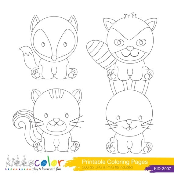 Printable Cute Woodlands Animals Coloring Pages Amp By