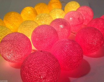 Sweet Pink Yellow Cotton Balls String Lights Fairy Home Decor Party