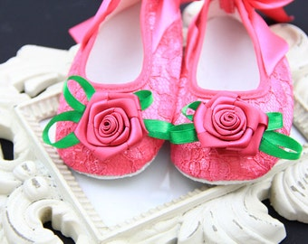 Baby shoes. Baby girl pink Shoes ,pink  Baby Shoes,Baby Girl shoes, Christening, Baptism, Wedding, Ready to ship, pink girls shoes