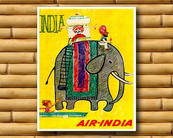 India Travel Print Elephant  Wall Art Asian Decor Poster (AJT45)