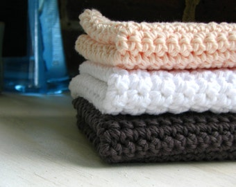 Cotton Crochet Dishcloth - Set of Three - Early to Rise Colors