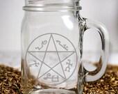 Supernatural Inspired Devils Trap Customizable Etched Glassware Mason Handled Jar Beer Mug Barware Gift