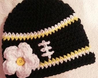 Crochet Baby Hat, Baby Girl Hat, Crochet football Hat, Crochet hat in Pittsburgh Colors, Baby Football Hat Sizes- Newborn-12 Months