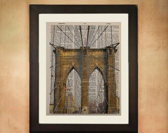 Brooklyn Bridge Dictionary Art Print, New York City Nyc Architecture Upcycled  Wall Art da64