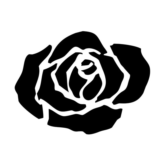 Tea Rose Clipart Black And White: Items Similar To Simple Handdrawn Black Rose Clipart On Etsy