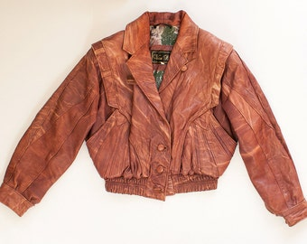 Vintage 70s 80s Pink Faux Leather Jacket with Buttons / Faded Red Cropped Jacket