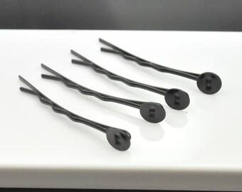 50pcs Black Stone Bobby Pin Hair Clips with 7mm Pad 43mm Long