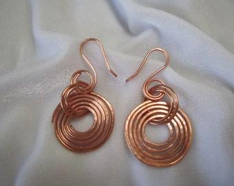 Copper Wire Circle Hoop Earrings Copper Earrings Copper Jewelry