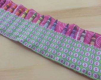 Pink Leaves Crayon Roll Organizer~ Holds 16 Crayons