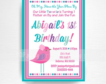 Bird Birthday Party Printable Invitation YOU Print