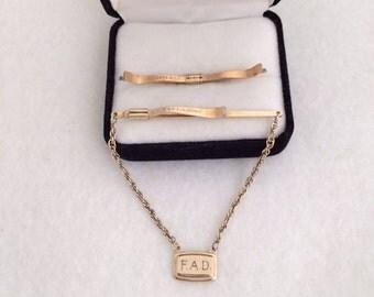 Krementez Men's Vintage a gold Filled USA Tie Clips and Tie Bar Monogram F A D