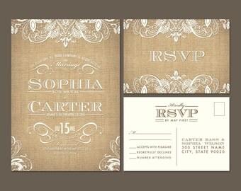 Sample Burlap Lace Wedding Invitation and RSVP Postcard