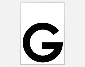 "Poster download ""G"" alphabet letters typography graphic abstract illustration text poster inspiration nursery living room office home decor"