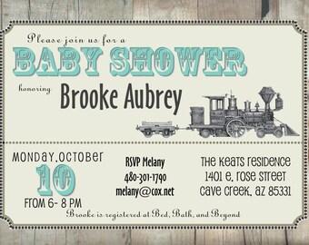 Vintage Train Baby Shower Invite