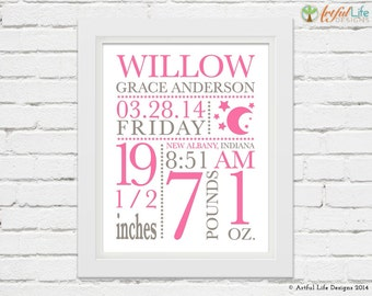 BIRTH STATS, Baby Stats, Moon and Stars Nursery, New Baby Gift, Personalized Baby, Baby Girl Nursery, Baby Boy Nursery, Nursery Wall Decor