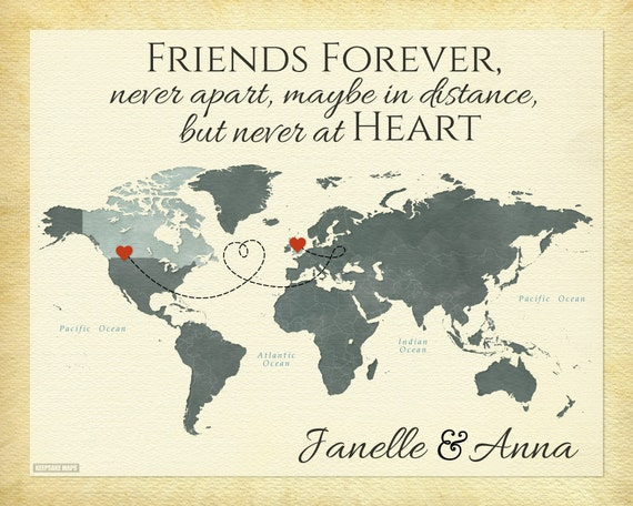 Long Distance Present For Best Friend Personalized World Map