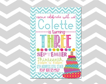 Birthday Party Invitation/Card Birthday Cake Invitation/Card