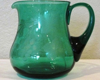 Green Etched Pitcher