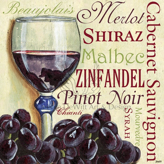 Items similar to red wine text and grapes colorful kitchen for Colorful kitchen wall art