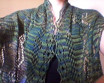 Hand-Knitted Lace Scarf with DNA Strand Design