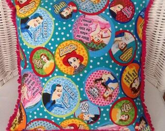Retro 'Keep it Sassy' cushion