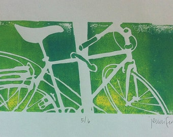 Let's Go Ride A Bike…Original Green and Yellow Bicycle Linocut Signed and Dated