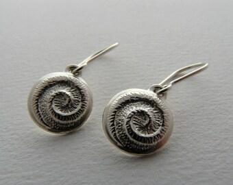 Handcrafted Sterling Silver Koru Earrings. Made in New Zealand by Hudson Jewellery.