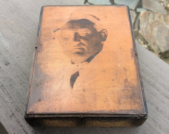 Vintage Copper Etched Metal Printing Plate On Wooden Block