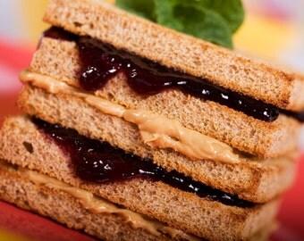 Peanut Butter and Jelly Sandwich, Wall Art,  Vegan Food Photo, Still Life Photography,  Food Photography, Photo Print, Kitchen Decor