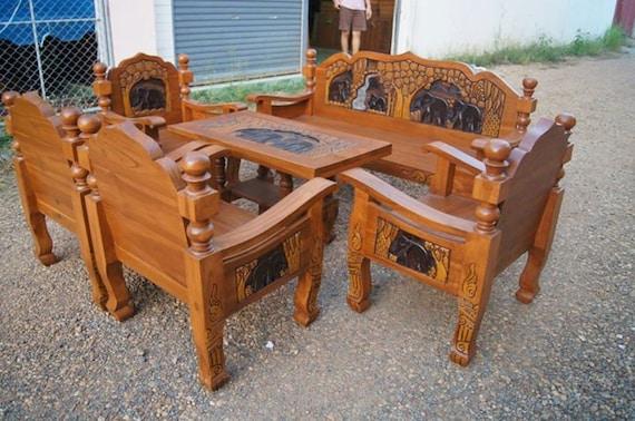Carved Teak Wood Living Room Furniture Set With By Edvena On Etsy