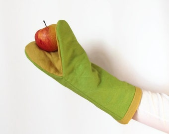 Lime green oven mitts- Oven Mitt - Pot Holder - Gift for Mom - Ready to ship
