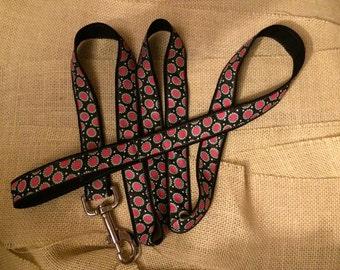 Pink and Black Large Dot Woven Jacquard Ribbon Dog Leash