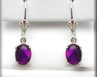Purple Paua Shell Earrings | 8x6mm Paua Shell Jewelry | Abalone Earrings | Leverback Silver Earrings | Lever back Earrings | Abalone Jewelry
