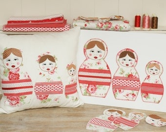 PDF Sewing and PES Embroidery Pattern. Matryoshka Doll.Babushka Matryoshka Russian Dolls Set of 3. Instant Download. Cushion and picture.