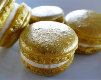 24 Gold Gourmet French macarons in gift box - authentic european artisan macaroons, gluten free cookies, baby shower, wedding favor, baptism