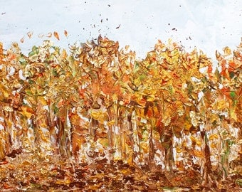 Original landscape painting Autumn trees painting Fall trees painting Original painting Golden trees painting Autumn golden landscape