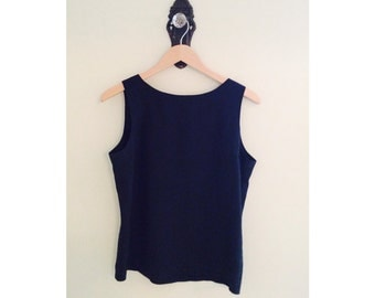 Simple 80s black silk tank