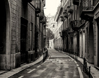 Travel Photography, Milan, Side Street, Italy, Architecture, Rain, Fine Art Black and White Photography, Home Decor, Wall Art