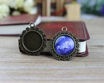 10pcs Antique Bronze Cameo Pendant Necklace - DiY Pendant Necklace Base - 20mm Setting Blanks