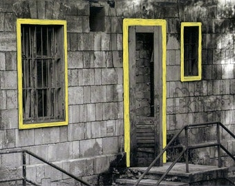 hand colored photo of a house, black and white photo, wall decor