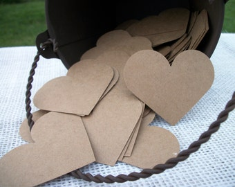 "Kraft Heart Cards 200 Blank Cards DIY Paper Card Brown Advice Card Guest Book Hearts Wedding Place Cards- 2"" Inch Rustic Shabby Chic Wedding"